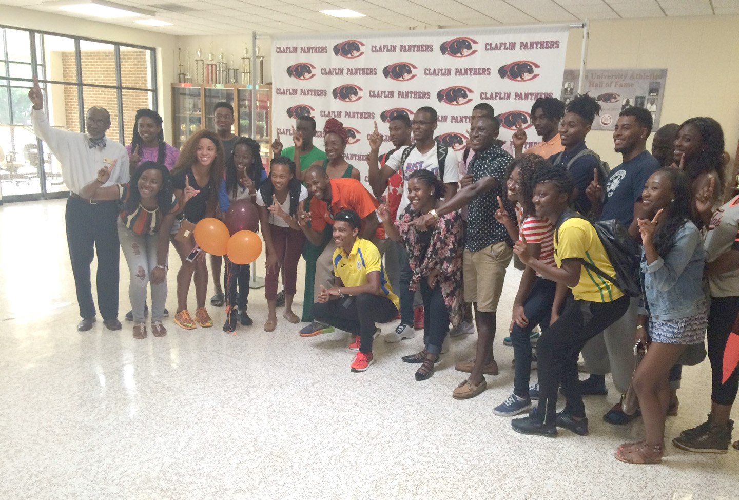Brandon Valentine-Parris Poses with other Claflin Students