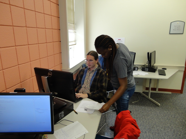 Members of the Claflin Computer Science Team working Together