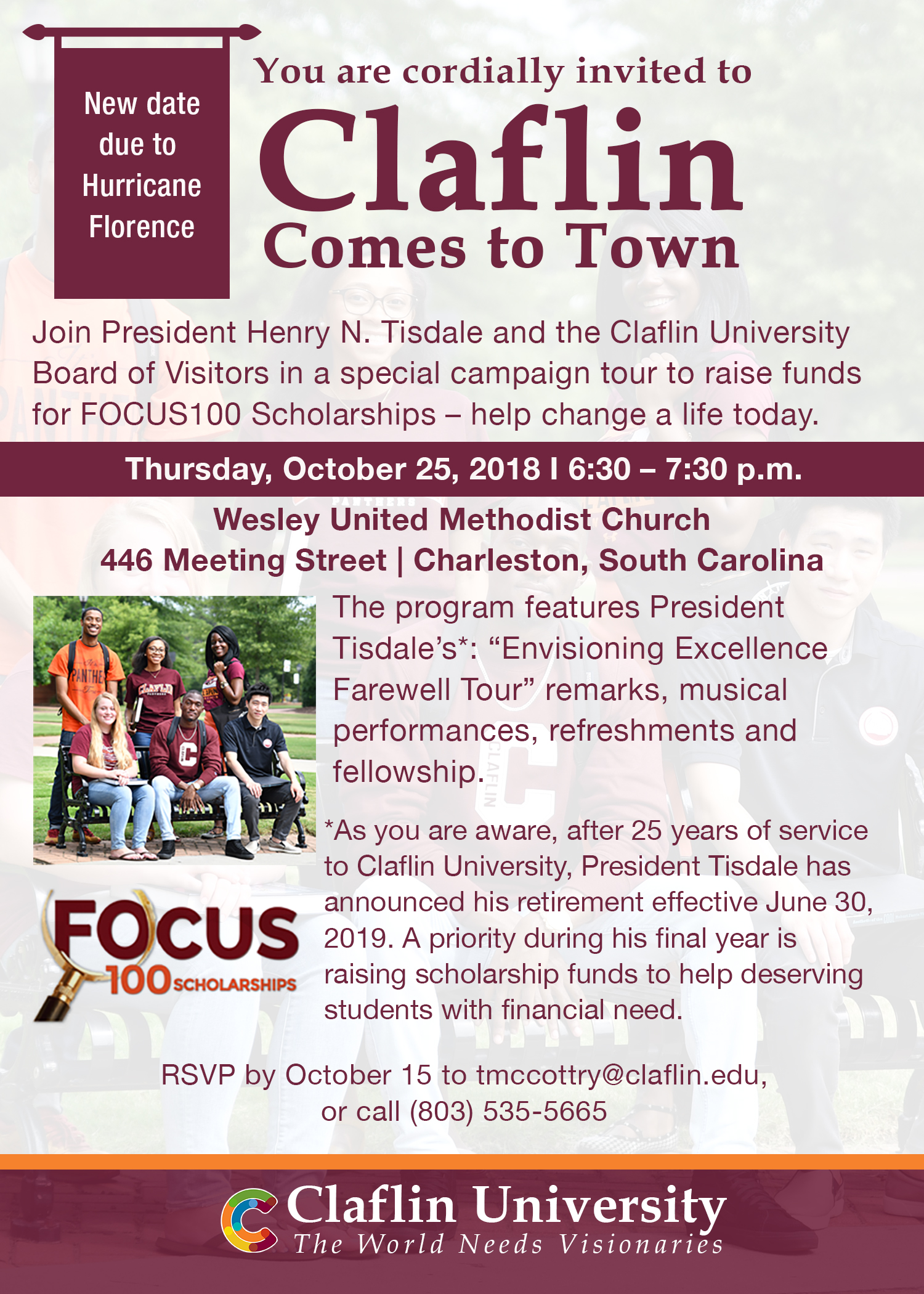 Claflin Comes to Town RESCHEDULED