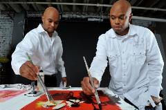 Lynn twin brothers working on their art for Claflin Exhibit