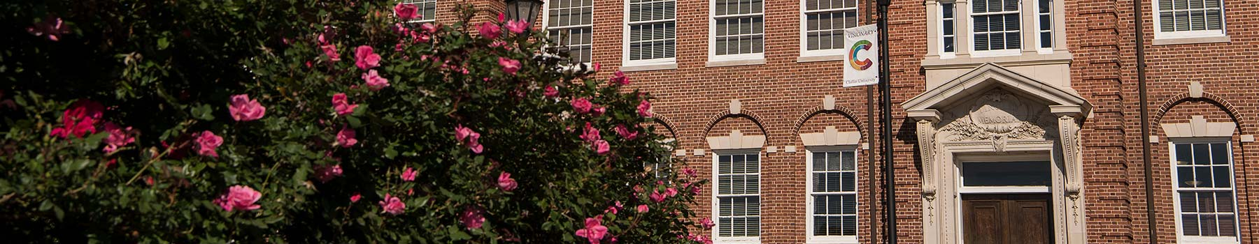 Tingley Memorial Hall exterior with rose bush