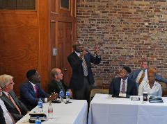 SC Congressman James Clyburn makes a point during panel discussion on entrepreneurship at Claflin