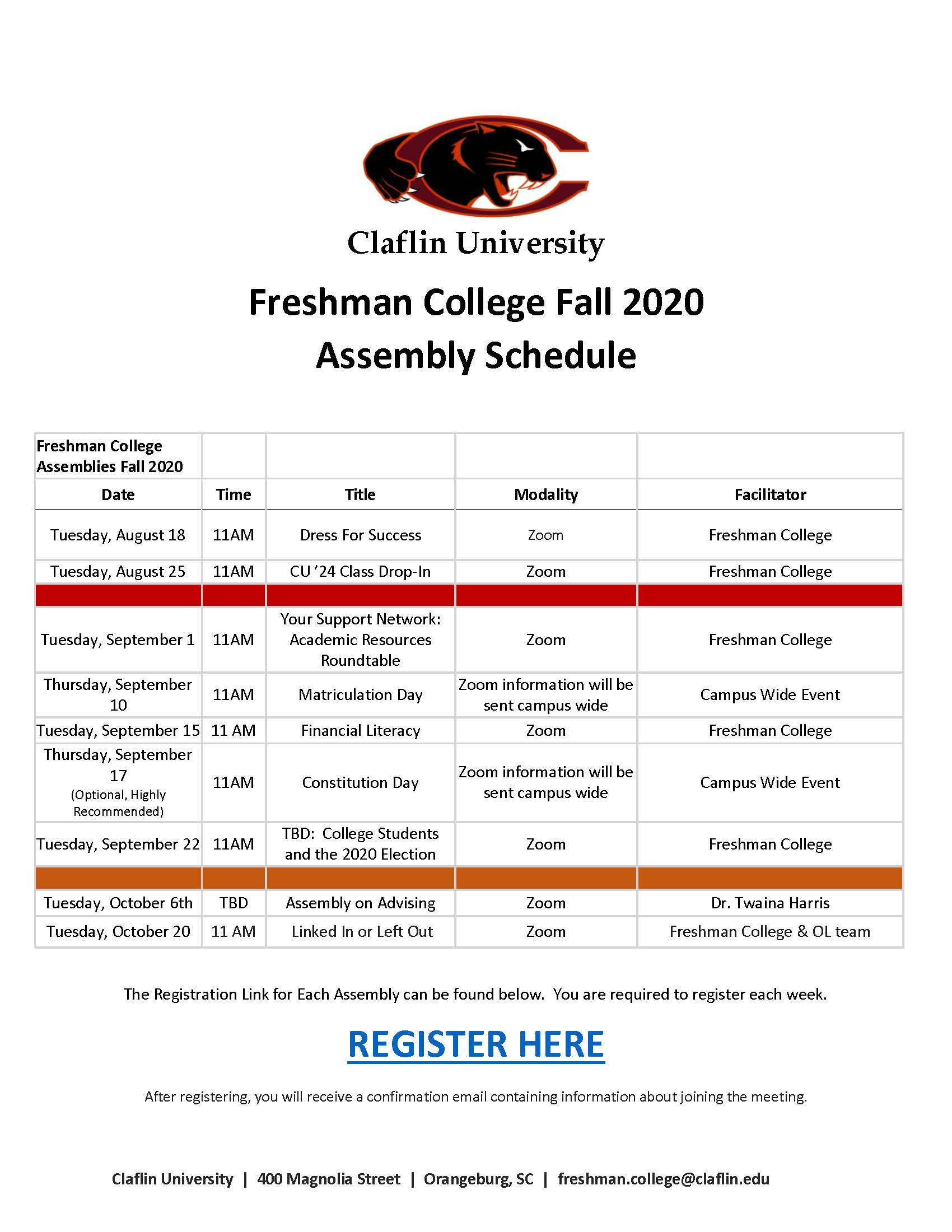 Claflin University fall 2020 assembly schedule