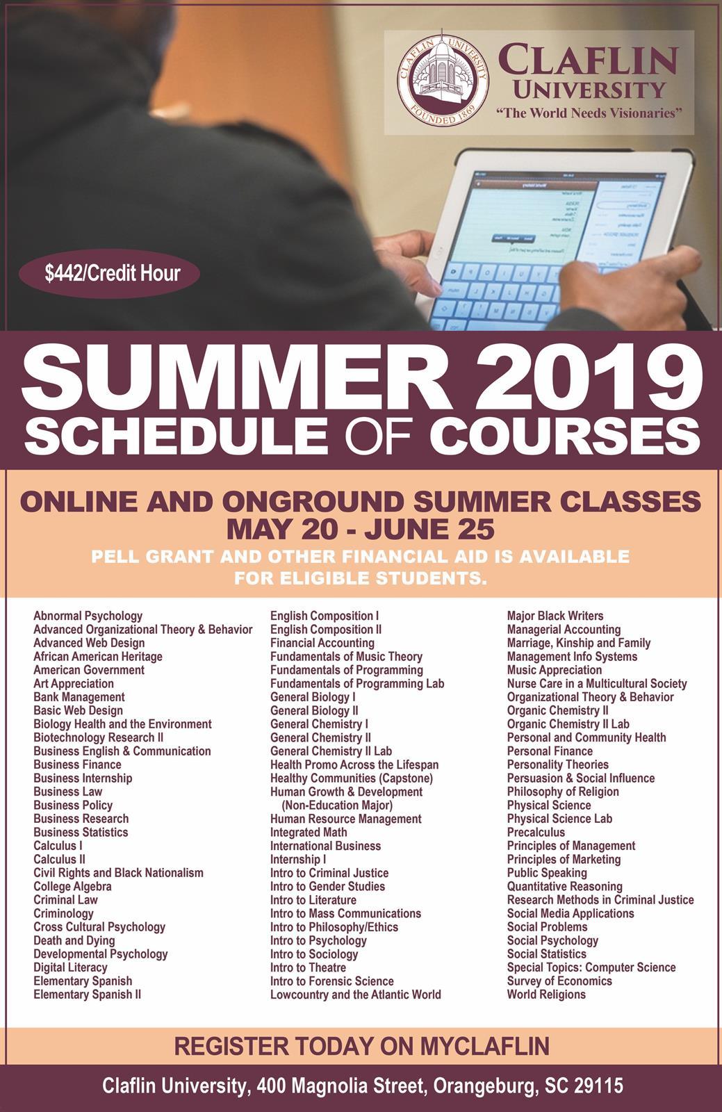 Summer Schedule of classes 2019